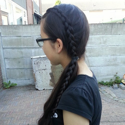side braid and side ponytail