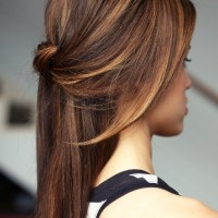 knotted half updo for straight hair