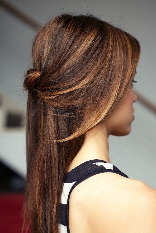 Hairstyles For Long Hair Knots : knotted half updo for straight hair