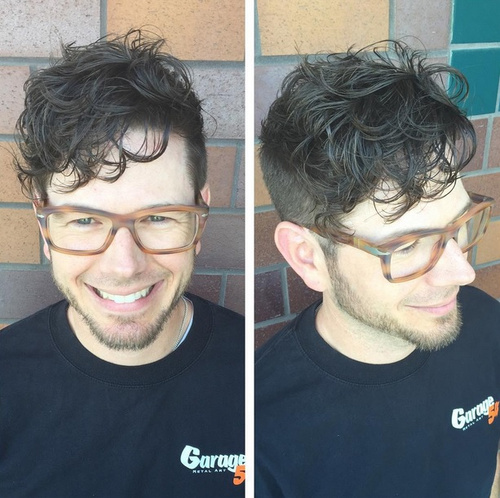 wavy top short sides hairstyle for men