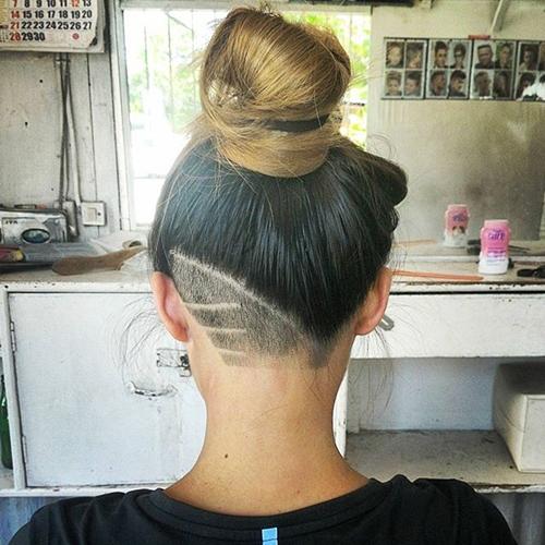 bun with a nape undercut for women
