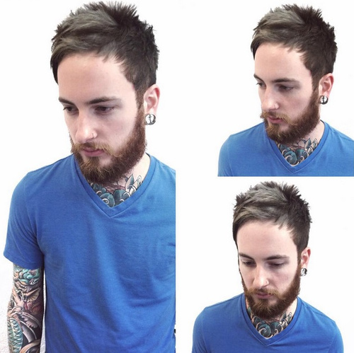 men's spiky hairstyle with full beard