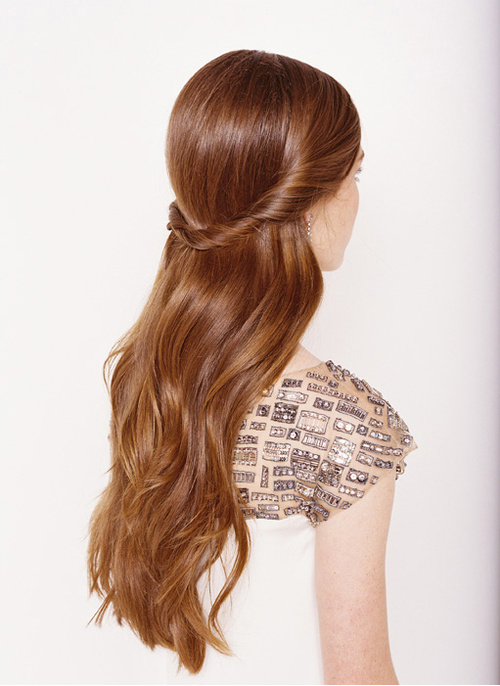 half updo for long hair