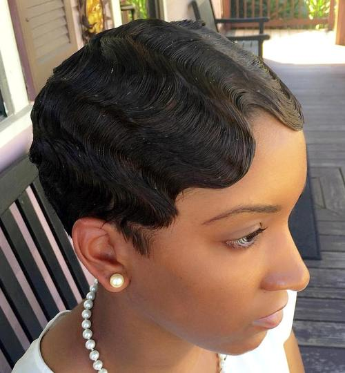 very short hairstyle with finger waves