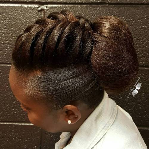 African American Natural Braid And Bun Updo