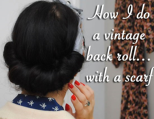 vintage updo with a back roll