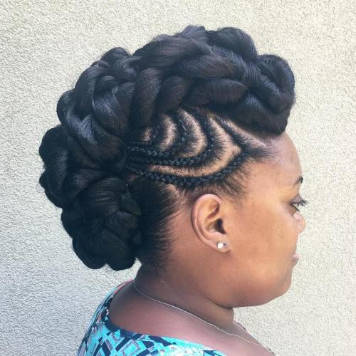 Black Mohawk Updo With Braided Designs