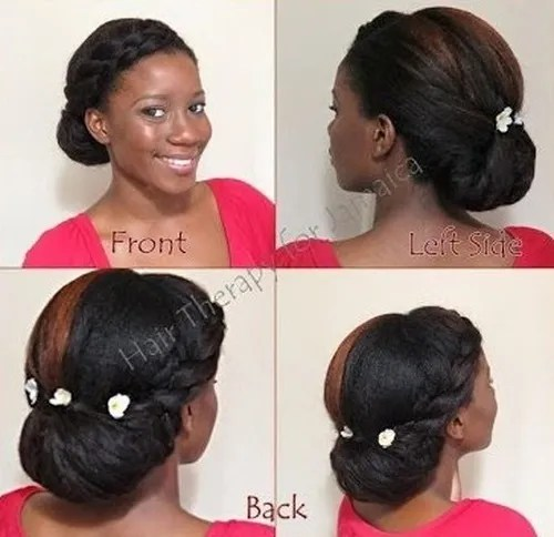 braided bun updo hairstyle for black women