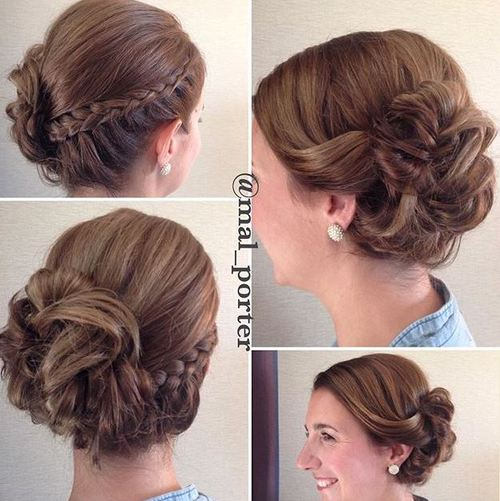 braid and bun updo for shorter hair