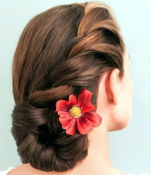 side bun updo with hair flower