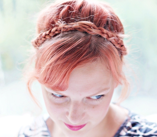 updo with crown braid for red hair