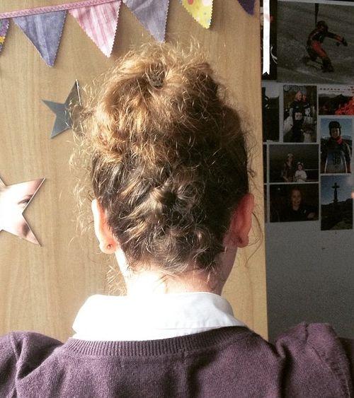 bun updo for frizzy hair