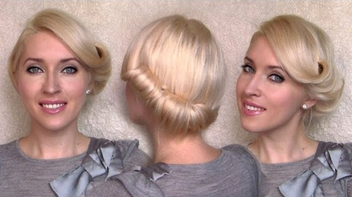 nape roll updo for short hair