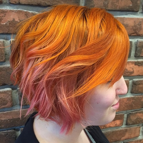 Long Copper Pixie With Pink Balayage Highlights
