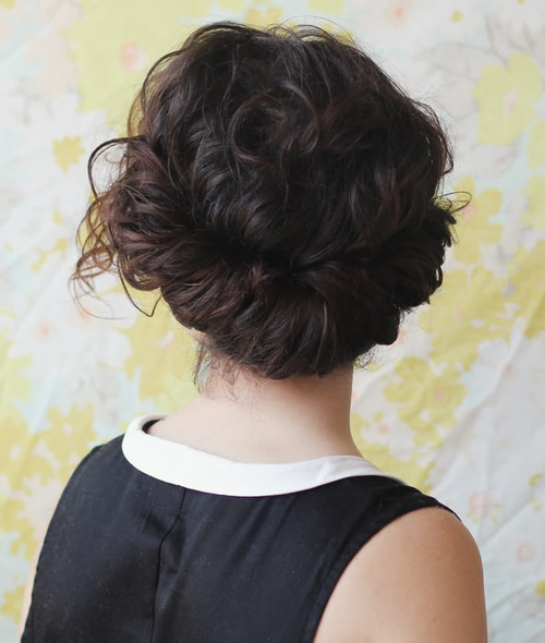 messy curly updo
