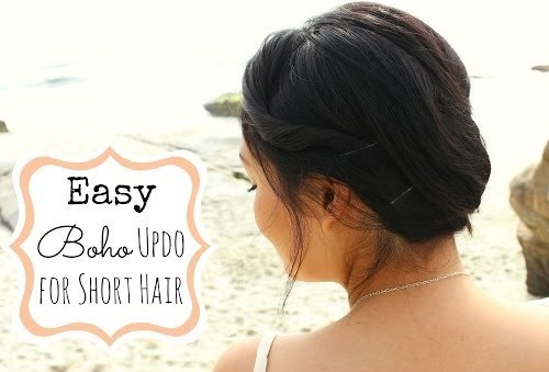 boho updo for short hair