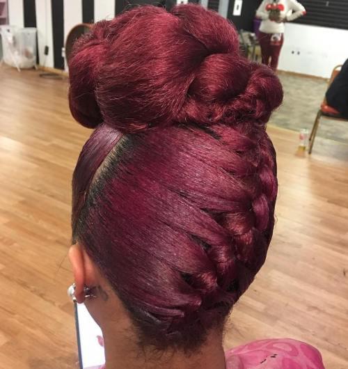 African American Braided Burgundy Updo