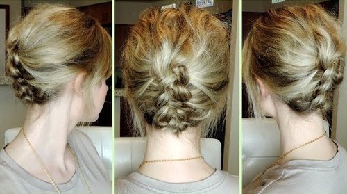 casual braided updo for short hair