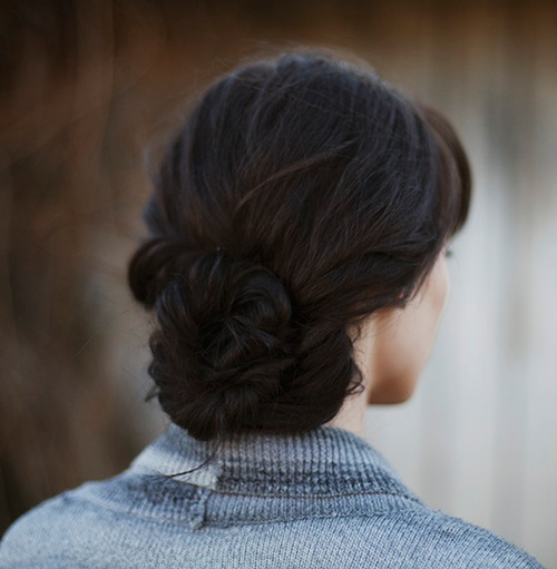 homecoming updo with a low braided bun