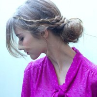 casual braid and bun updo for long hair