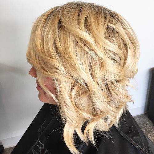 Fashion style Angled wavy bob haircuts for girls