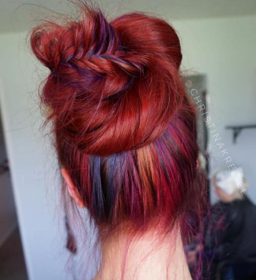 Bun Updo For Red Hair With Rainbow Highlights
