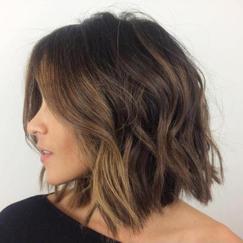 Bob Hair Styles : collarbone messy wavy bob for thick hair