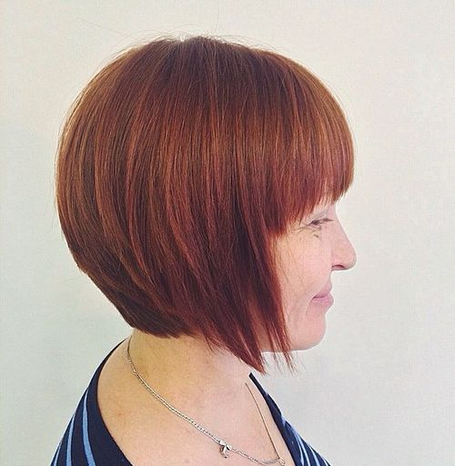 red layered bob with bangs