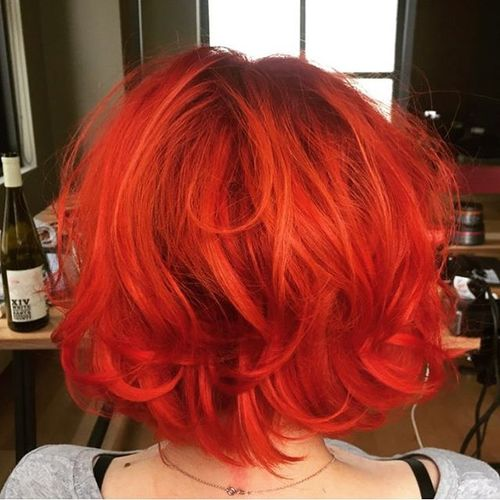 red tousled bob