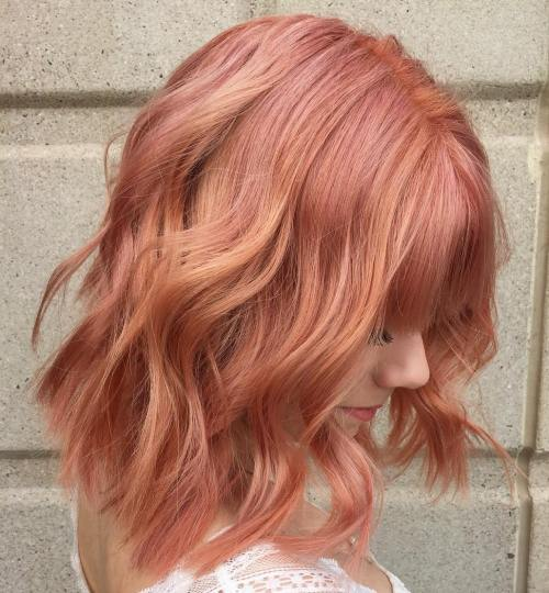 Strawberry Blonde Choppy Lob