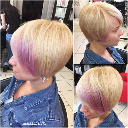 short blonde bob with highlighted bangs