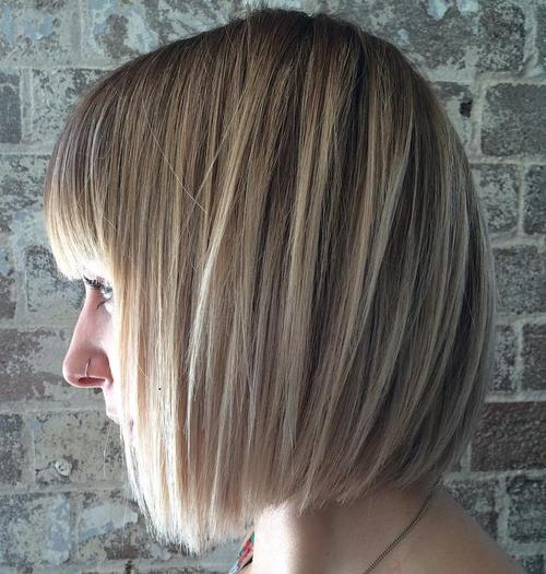 medium bob with bangs for straight hair