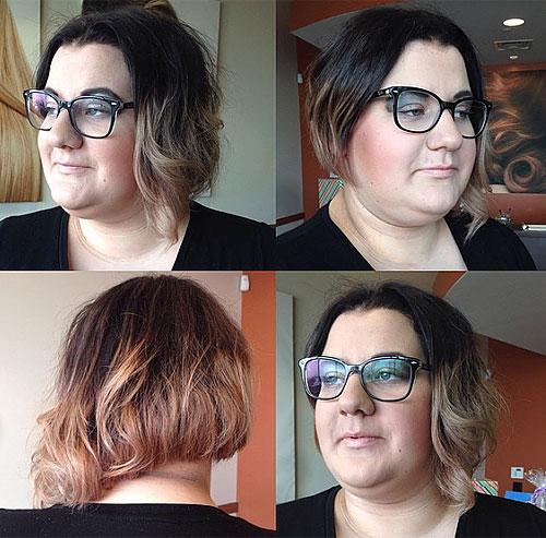 asymmetrical wavy bob for a fat face