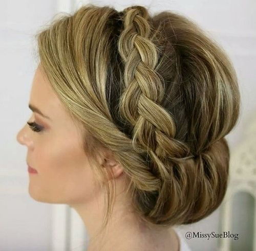 gibson tuck updo with a crown braid