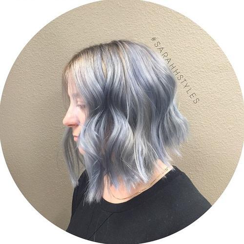 Silver blue wavy lob