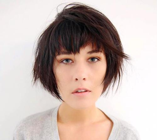 choppy asymmetrical bob with bangs
