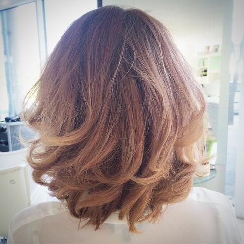 Layered wavy bob hairstyle