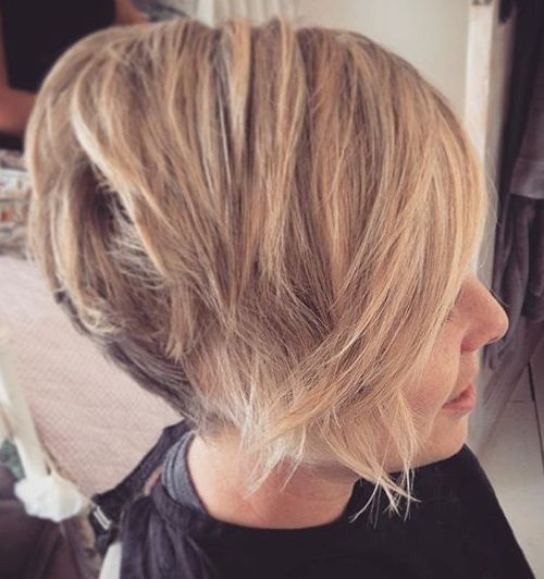 short chopped brown blonde bob