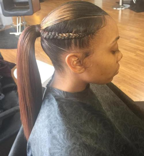 African American Sleek Ponytail With Braids