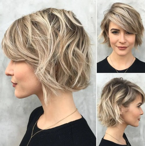 Wavy Choppy Hairstyles : Jaw length shaggy haircut with side bangs