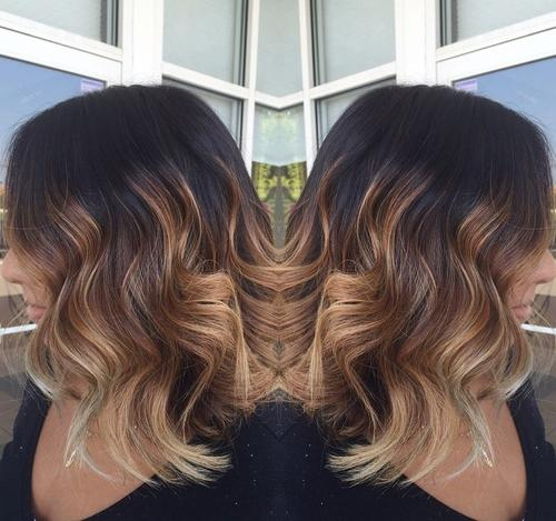 Long wavy bob with ombre