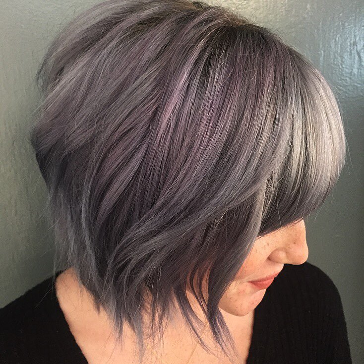 piecey hairstyles : Wavy Angled Bob Haircut with Piecey Angled Bob Haircut also Bangs With ...