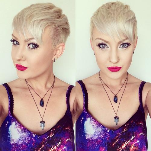 textured platinum blonde pixie