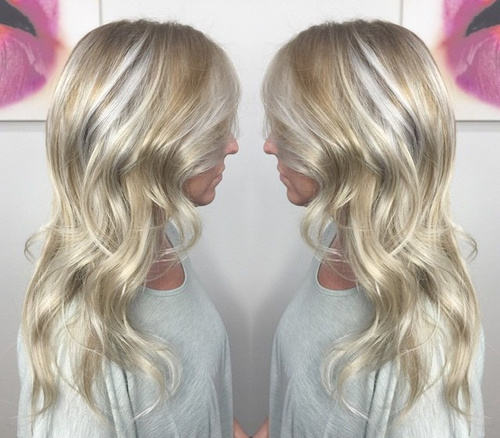 platinum blonde hair with balayage highlights