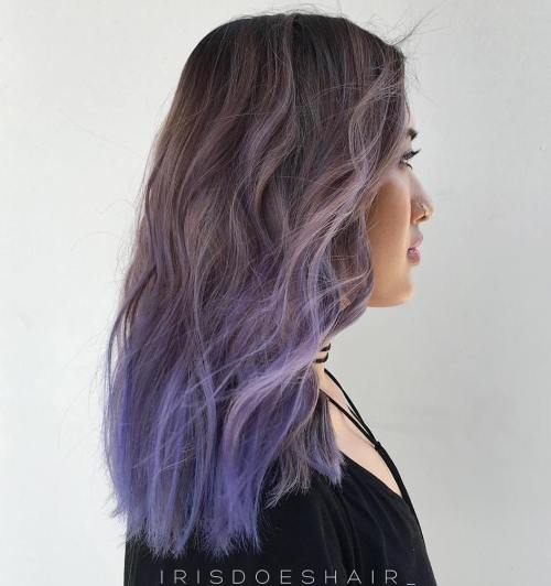 Ash Brown To Pastel Purple Ombre