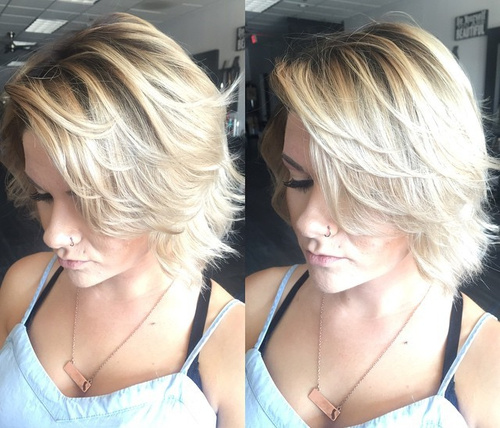 medium tousled hairstyle with ombre