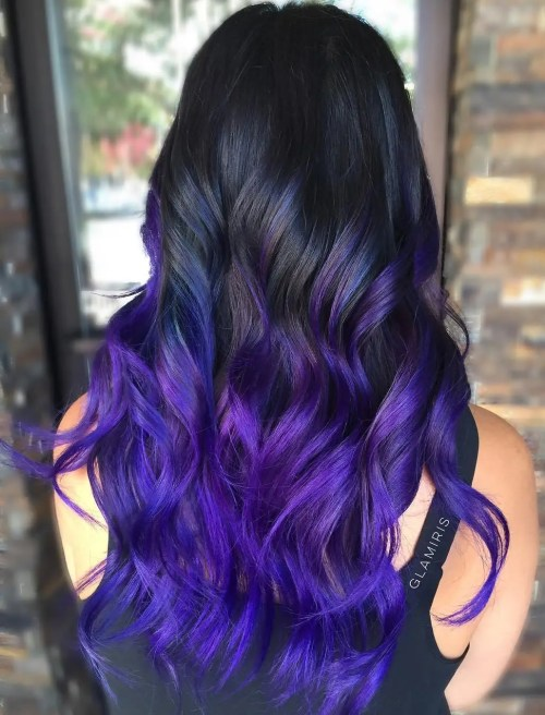Blue And Purple Balayge For Black Hair