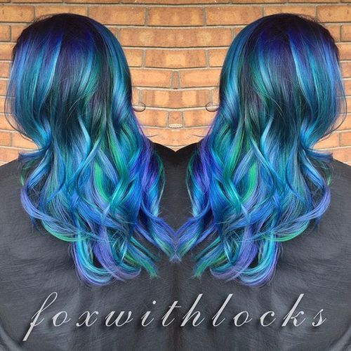 blue, green and purple ombre highlights