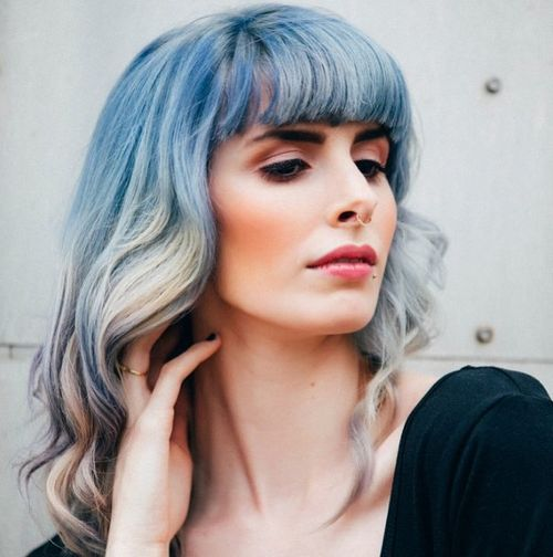blue into silver ombre hairstyle with bangs
