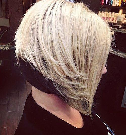 blonde layered bob with black underlayer